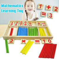 New Wooden Montessori Mathematics Number Early Learning Counting Sticks Kids