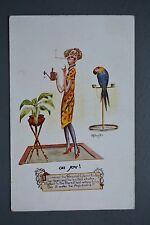R&L Postcard: Personal Ads Column Smoking Women Parrot Bird, Plant Watering