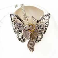 steampunk gothic flying butterfly wing watch parts brooch pendant chain jewelry