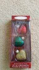 Hallmark 2000 Heart Blown Glass set of 3 Christmas Ornaments