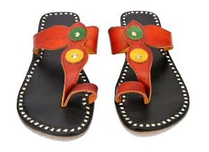 Womens slippers hand stitching sandals handmade leather flats shoes flip flops