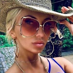"Big SQUARE  XXL ""JENNER"" OVERSIZED Metal Gradient Women Sunglasses Shadz GAFAS"