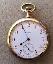 VINTAGE 1921 ELGIN GOLD FILLED OPEN FACE POCKET WATCH