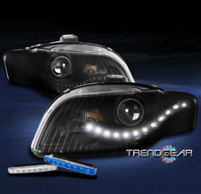 FOR 2005-2009 AUDI A4 S4 B7 DRL LED BLACK PROJECTOR HEADLIGHT HEADLAMP +BLUE DRL