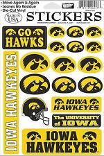 Iowa Hawkeyes Vinyl Die-Cut Sticker Decals - 18 per sheet