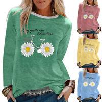 Daisy Print Pullover T Shirt Women Tee Tops Crew Neck Long Sleeve Blouse Fashion