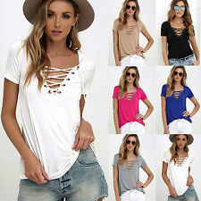 FX- Women Summer Plus Size Sexy Top casual Strappy V-Neck Tees T-Shirt Superior