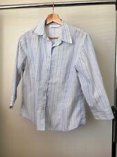 BHS Blue Yellow Stripe Size 12 Polycotton Half Sleeve Shirt <T11918
