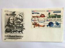 UNITED STATES USA 1975 FDC ART CRAFT US POSTAL SERVICE PLANE TRAIN SATELLITE