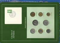 Coin Sets of All Nations France French 1975-1990 UNC 2 Francs 1981 1 Franc 1975