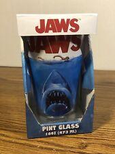 JAWS Pint Glass 16 oz Universal Studios Horror Shark Movie RARE COLLECTIBLE NEW