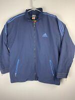 Adidas Vintage Windbreaker Full Zip Jacket Mens XL Blue