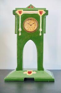 Art Nouveau /Deco Ceramic Eichwald Mantle Clock, Mechanical Movement, 32cm tall