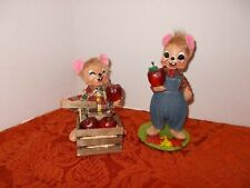 "2 ANNALEE HARVEST THANKSGIVING  Mouse with Apples  NWOT 7"" & 6"""