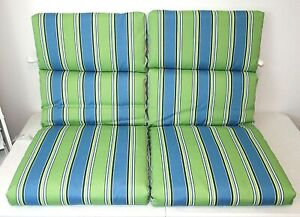 """Pair (2) Blue/Green/Yellow Striped Outdoor Patio Chair Seat Cushions, 22""""x 44"""""""