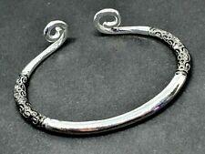 Mens Bracelet Metal Torque Celtic Scroll End Filigree Knot Design Silver Tone