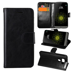 Black Premium Leather Flip Case Stand Pouch Cover For Various Mobile LG Phone