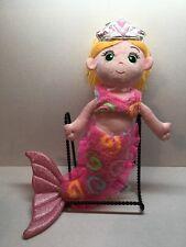"Fiesta Pink Mermaid Plush 12"" Blonde Hair Green Eyes Toy. A1"