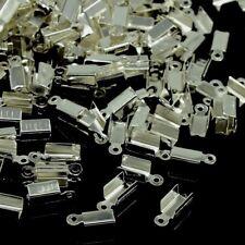 LOT de 100 EMBOUTS à écraser plier 12x5x4mm ARGENTE foncé perles bijoux fil cuir