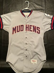 1980's GAME USED TOLEDO MUD HENS AUTHENTIC ROAD JERSEY SIZE 40 WILSON