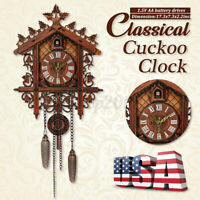 US Style Vintage Wood Cuckoo Clock Forest House Swing Wall Handcraft