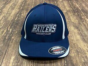 Worcester Railers ECHL Minor League Hockey Blue Flex-Fit Hat Yupong Small/Medium