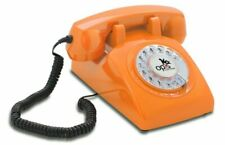 Opis 60s Cable Technology Inlay Designer Retro Rotary dial Telephone | Orange