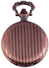 Pocket Watch Quartz White Copper Look Stripes Metal Analogue W-60463610628350