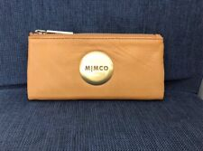 MIMCO Black MIM FOLD WALLET Rose Gold button Sheep Leather genuine RP179 DF