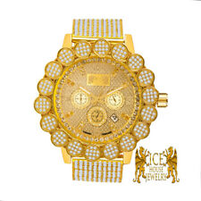 Men's Gold Finish Big Flower Pave Bezel Real Diamond Ice House Custom Band Watch