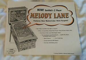 Gottlieb's MELODY LANE Pinball Machine Advertising Flyer Vintage Rare Nice!