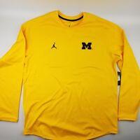 Michigan Wolverines Football Jordan Men's Crew Sweatshirt Maize Yellow Jumpman