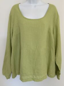 FLAX Jeanne Engelhart Boxy Tunic Top 100% Linen Lagenlook Pockets Green 1G PLUS