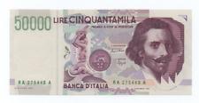 50000 LIRE BERNINI II° TIPO DECR 27 MAGGIO 1992  VARIANTE NUMERI VERDI  FDS