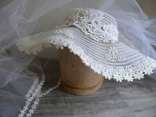 """Wedding Hat & Veil Vtg 90s Off White Beads & Lace 4 Layers 26"""" to 52"""" Long Boho"""
