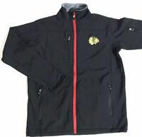 Chicago Blackhawks Men's Full-Zip Fleece Lined Jacket NHL Black Size Medium EUC