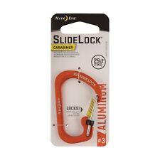 Nite Ize SlideLock Carabiner #3 Aluminum Orange Locking 25lb-Rated (2-Pack)