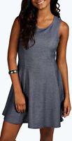 New Ladies Womens Rada Denim Look Panelled Skater Dress Size 6,8,10,12,14