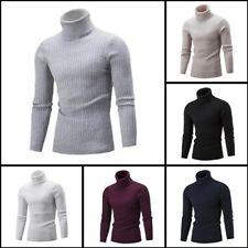 Sweater Pullover Knit Knitwear Jumper Turtle Neck Mens Warm Casual Winter