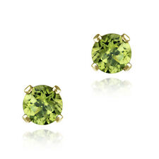 1/2ct Peridot Gold Plated Silver Stud Earrings, 4mm
