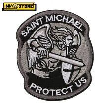 Patch Ricamata Saint Michael Protect US 8,5 x 7 cm Militare Grey/BK con Velcrogr