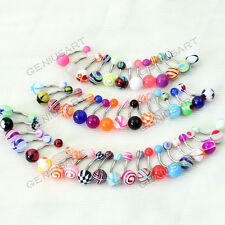 50 Mixed Mix Ball Belly Navel Barbell Steel Bars Rings Body Piercing ge9y