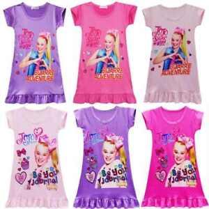 Girls dress pajamas jojo siwa Cartoons Summer dress Kids Casual Skirt Pajamas