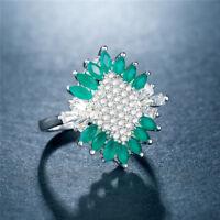 Pretty Women Wedding Rings 925 Silver Jewelry White Sapphire Size 6-10