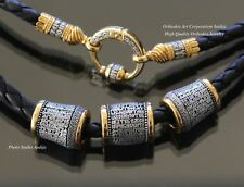 BLACK LEATHER ORTHODOX JEWELRY CORD.925 STERLING SILVER +.999GOLD BEADS SET 55CM