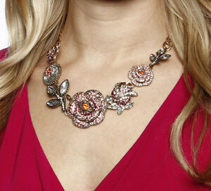 Betsey Johnson Necklace Statement Pave Ombre Rose NEW