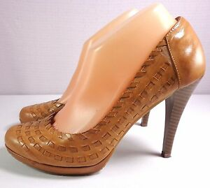 Andrew Geller Pumps Womens Tan Leather Heels Size 8.5 M Slip On Shoes