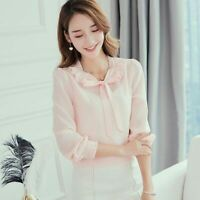 Summer Ladies Loose Women Fashion Top Shirt Chiffon T-Shirt Long Sleeve Blouse