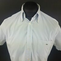 Lacoste Mens Vintage Shirt 38 (SMALL) Short Sleeve Blue Regular Fit Cotton
