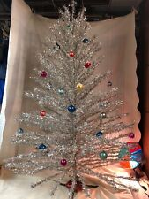 vintage aluminum silver christmas tree with color wheel, ornaments and stand